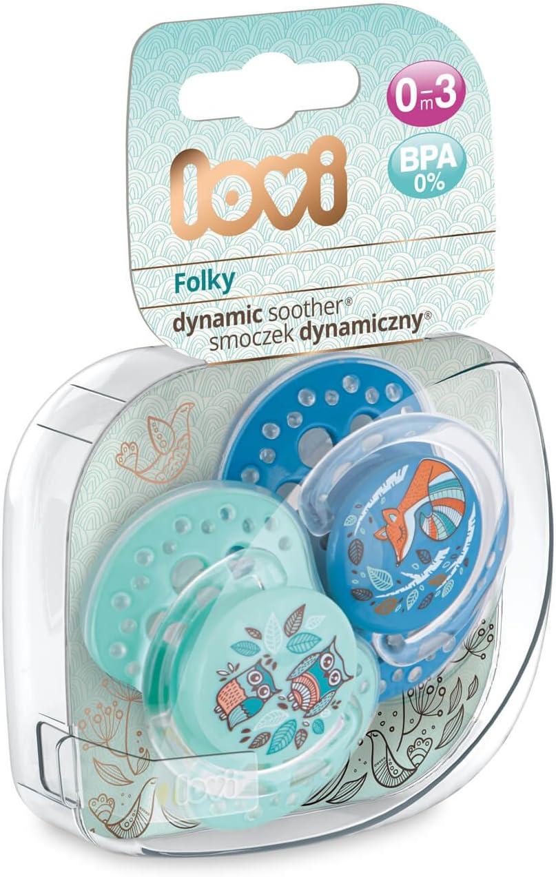 Collection Folky| Bleu Lot de 2 Hygi/ène de la couverture LOVI 2x Sucette en silicone pour b/éb/é 6-18 mois Prot/ège le r/éflexe de succion Effet apaisant Embout dynamique