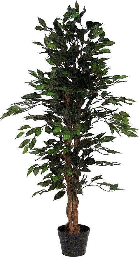 Piante Con Tronco Da Appartamento.Verdevip Ficus Benjamin Verde Albero Artificiale Da Arredo