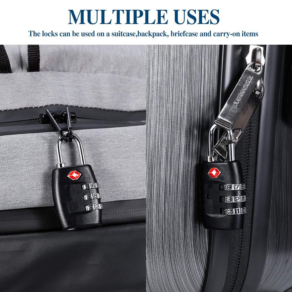 /Combinaison /à 3/chiffres Cadenas/ /avec un certificat de verrouillage pour valises et bagages / noir Cluckyu TSA bagages Verrouille 4pack