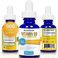 Vitamin D3 Liquid Drops with Vitamin K2 MK7 - New - Full 2000IU Per Drop - Vitamin D 2000 IU Effective, Safe - 4-5 Times…