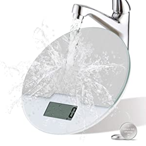 Upgrade Food Scale Digital Weight Grams and oz,Kitchen Scale for Baking Cooking, 0.1oz Precise Graduation, Stainless Steel and Tempered Glass (Round)