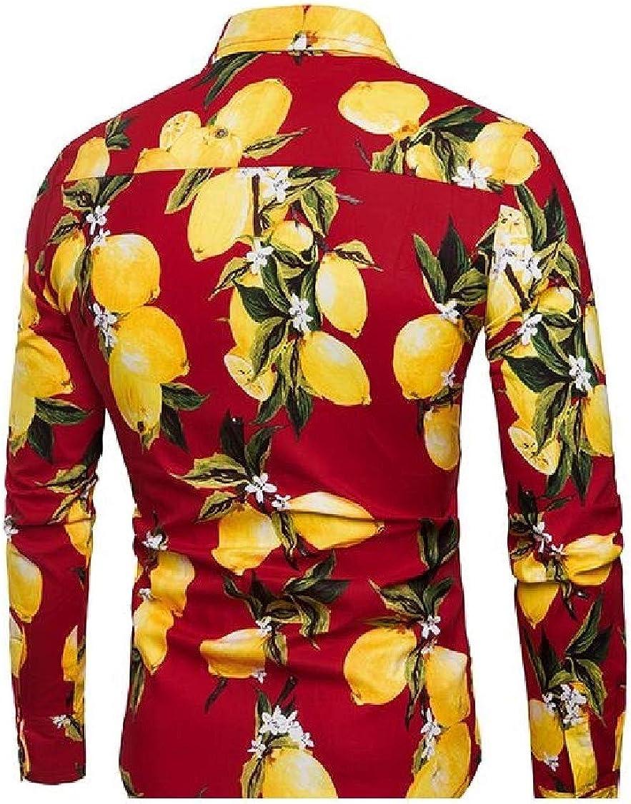 pipigo Mens Long Sleeve Printed Fit Top Beach Button Down Shirt