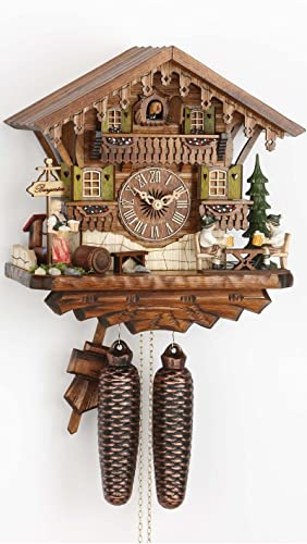 German Cuckoo Clock 8-day-movement Chalet-Style 11.81 inch – Authentic black forest cuckoo clock by Hekas