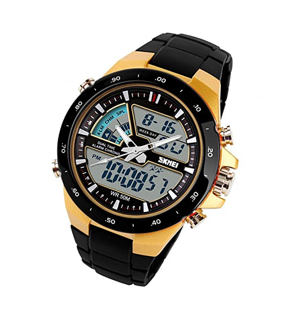 Amazon.com: Relojes de Hombre 2018 Sport LED Digital Military Water Resistant Watch Digital Men RE0033 (GOLD): Watches