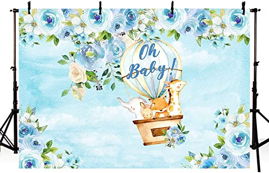 Amazon Com Mehofoto Safari Boy Baby Shower Party Backdrop Jungle Safari Hot Air Balloon Animals Blue Floral Photography Background Baby Boy Photo Booth Banner For Dessert Table Supplies 7x5ft Camera
