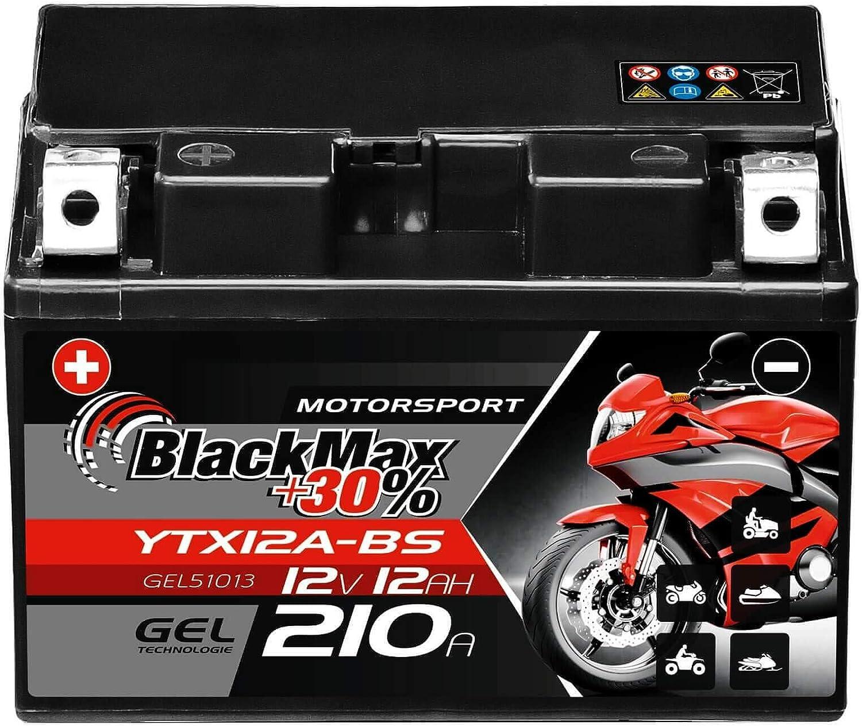 Blackmax Ytx12a Bs Motorradbatterie Gel 12v 12ah 210a 51013 Ctx12a Bs Ytz12s Gt12a Bs Auto
