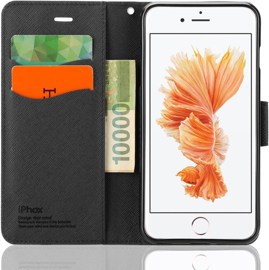 Souldio iPhone 6 Plus Case,iPhone 6s Plus Case,Leather Case for iPhone 6 Plus(5.5 in.) Wallet Case with Card Holder Kickstand Flip Cover Protective Case Cross Magnet Phone Cases(Black)