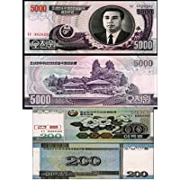 GOLD MINT 2005 North Korea 5000 and 200 Won Original Currency Foreign Bank Notes UNC Rare Set