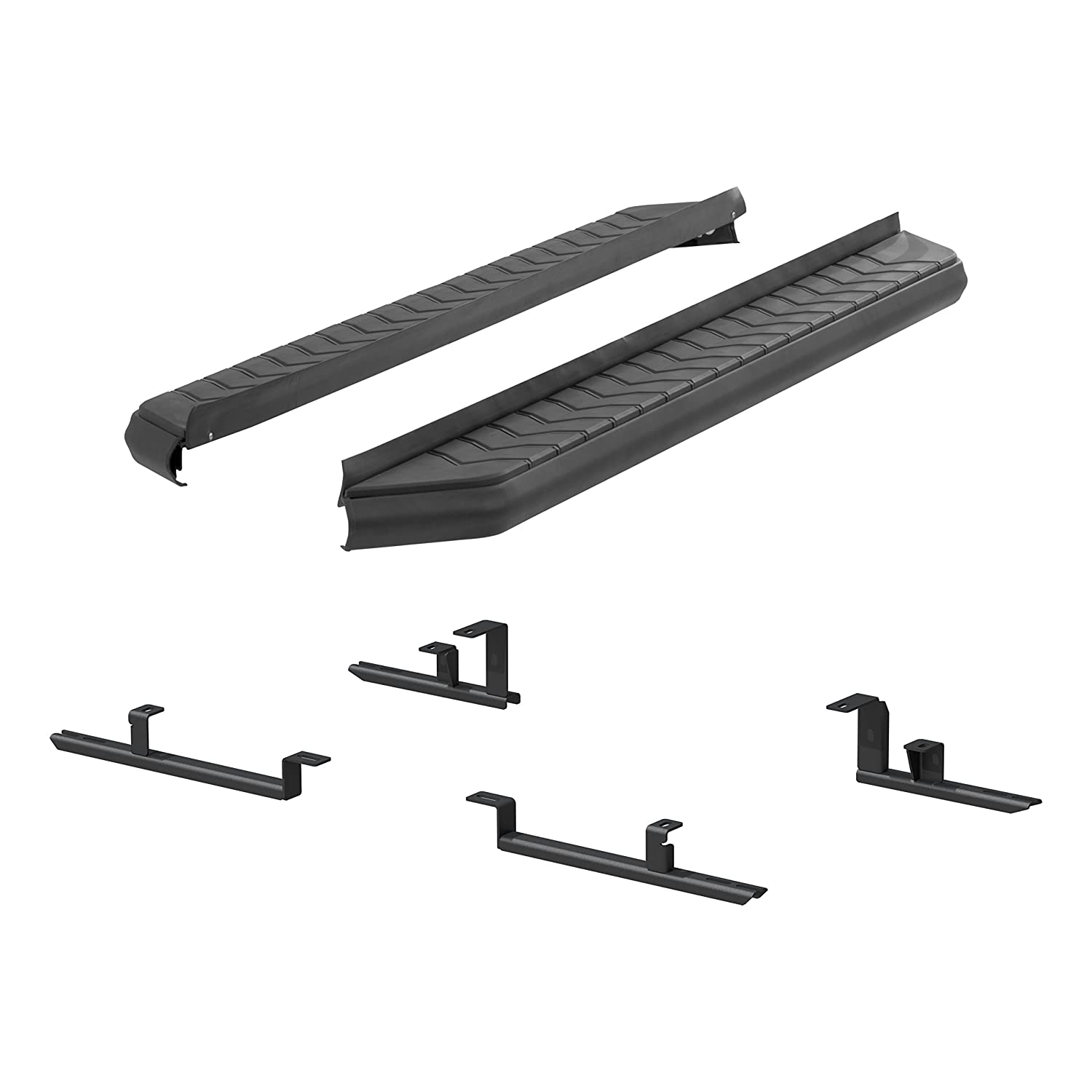 Aries 2061034 AeroTread Running Board 5 Black Powder Coated Stainless Steel Trim with Aluminum Base 2 Pack