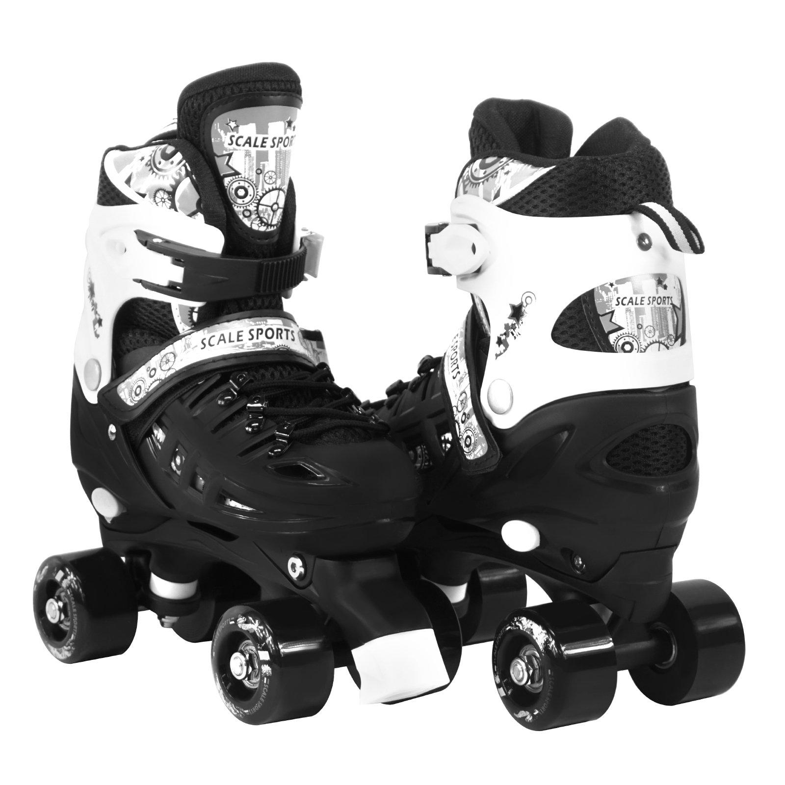 Scale Sports Adjustable Black Quad Roller Skates for Kids Large Sizes for Ladies Teens