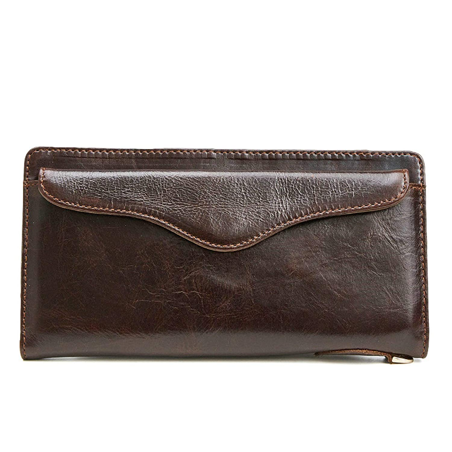 KnSam Genuine Leather Wallet for Mens Bifold Long with Buckle Coffee