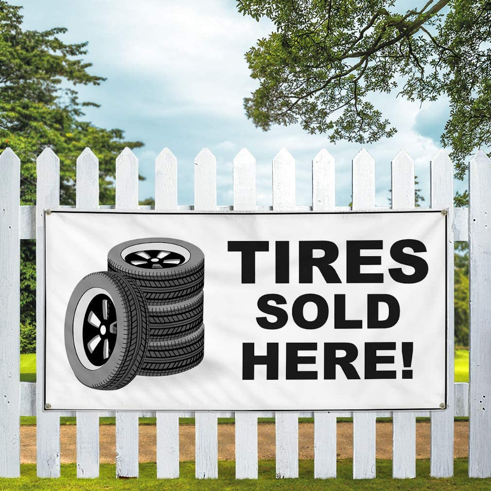 One Banner 44inx110in Vinyl Banner Sign Tires Sold Here Business Tires Outdoor Marketing Advertising White Multiple Sizes Available 8 Grommets