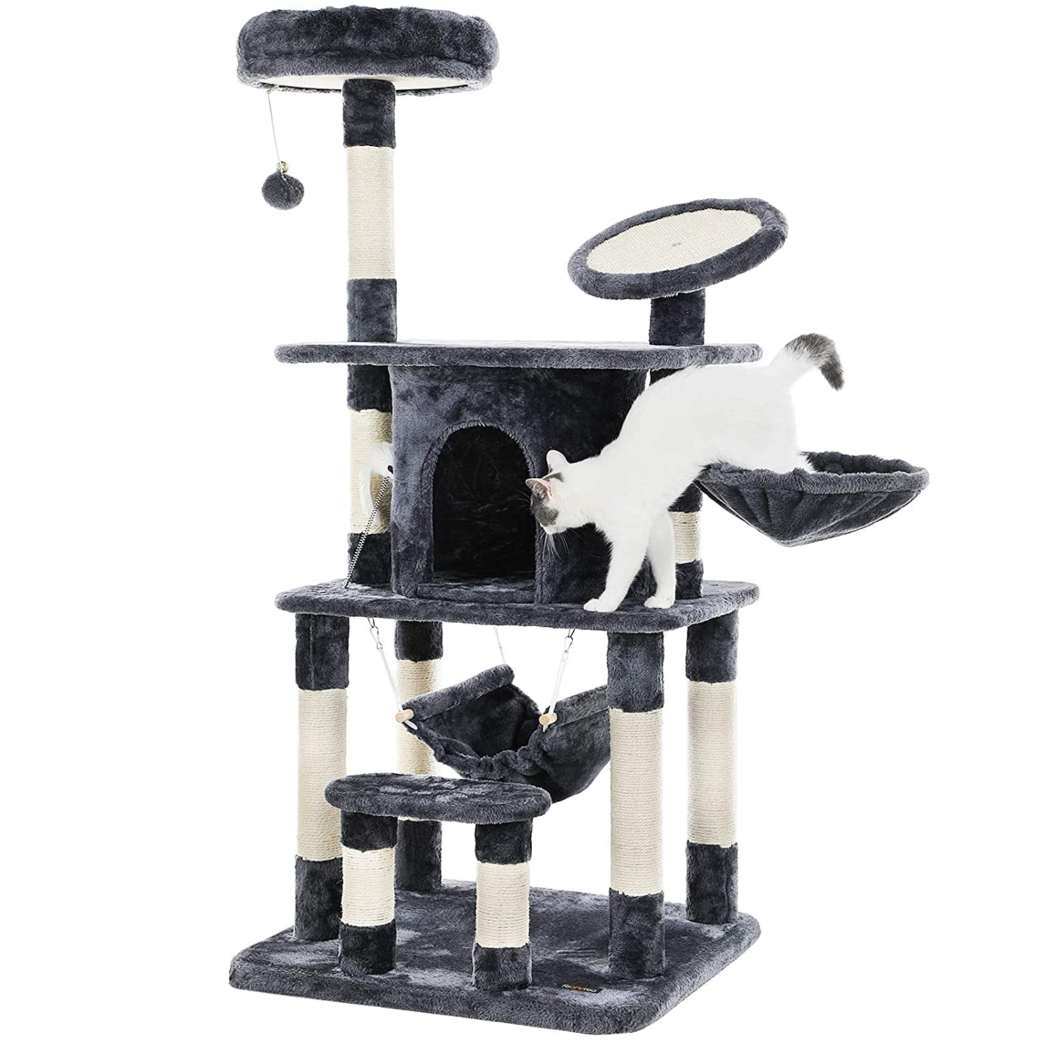 565102e6adcd FEANDREA Cat Tree with Scratching Board, Climbing Tree with Sisal Poles,  Hammock and Cave, Padded Platform, Climbing Post for Cats, 57.1