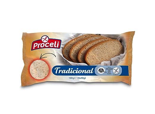 Proceli Pan Tradicional Sin Gluten - Paquete de 4 x 40 gr - Total: 160 gr