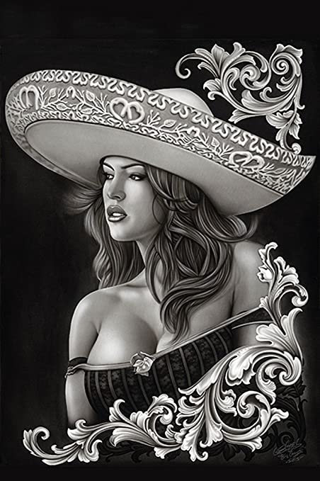 8360434cb Image Unavailable. Image not available for. Color: Black Market Art Ceeze  Charra by Big Ceeze Sexy Latina Woman Sombrero Tattoo Paper ...