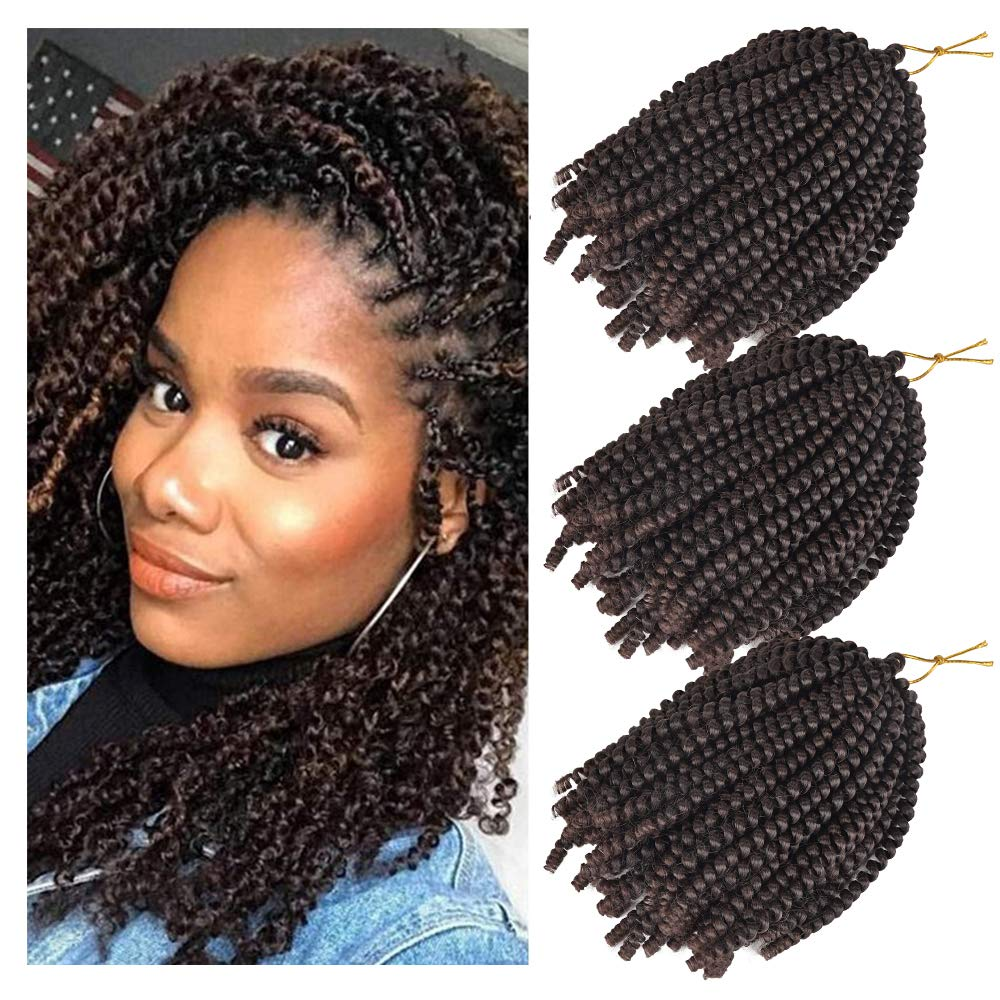3 Pack Spring Twist Hair Crochet Braids Ombre Colors 8inch Synthetic Braiding Hair Extensions (T1B/33)