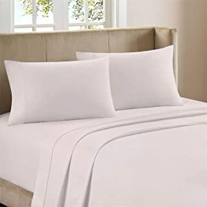 """Bestselling Garment Washed Breathable Cotton 4-piece Sheet Set, Artisan Percale Weave, Cool Comfort, Vintage Casual Look, 100% Natural Cotton, Deep Pockets upto 18"""" with Fully Elasticized Fit,Lt. Pink"""