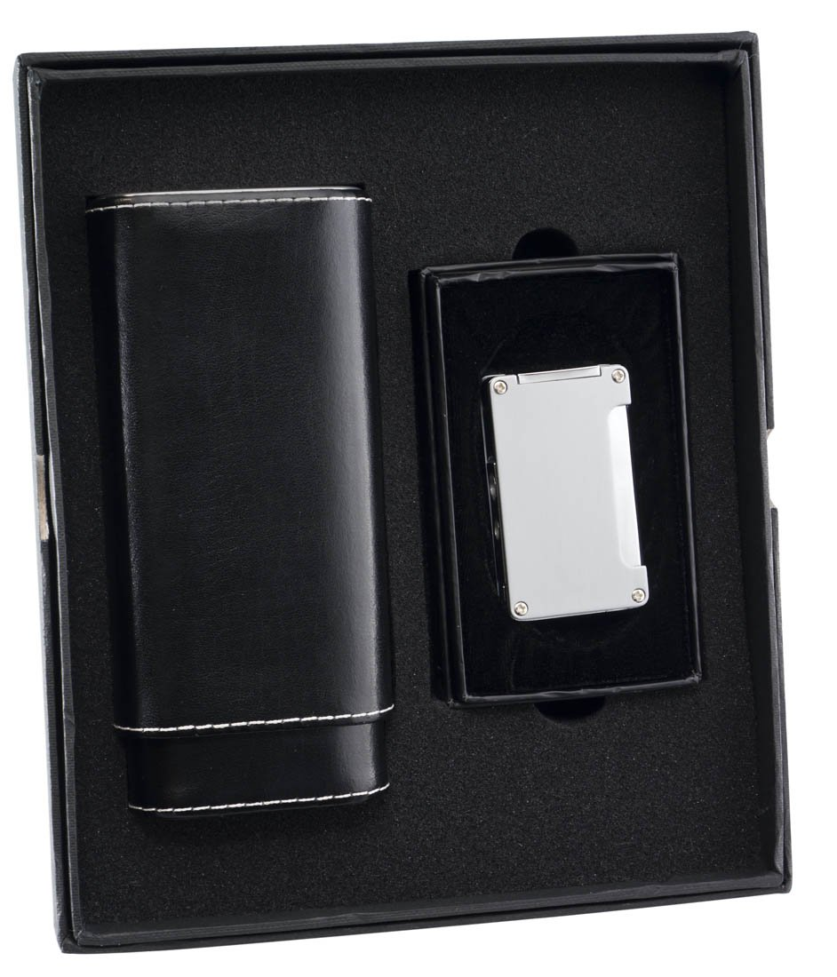 Visol ''Naturale'' and Brushed ''Zidane'' Cigar Case and Lighter Gift Set