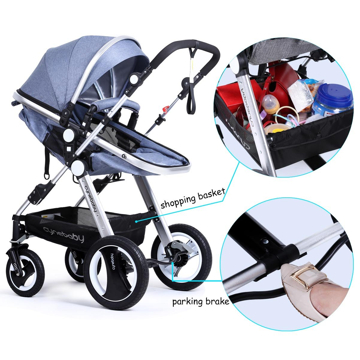 Infant Baby Stroller Toddler Carriage - Cynebaby Folding Pram Bassinet Strollers with Cup Holder (blue) by cynebaby (Image #4)
