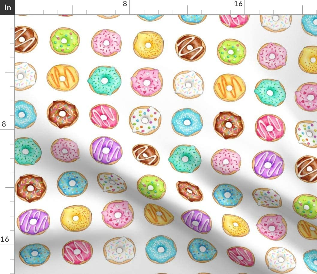 Spoonflower Fabric - Donuts Inch Donut Doughnut Cake Baking Food Printed on Fleece Fabric by The Yard - Sewing Blankets Loungewear and No-Sew Projects
