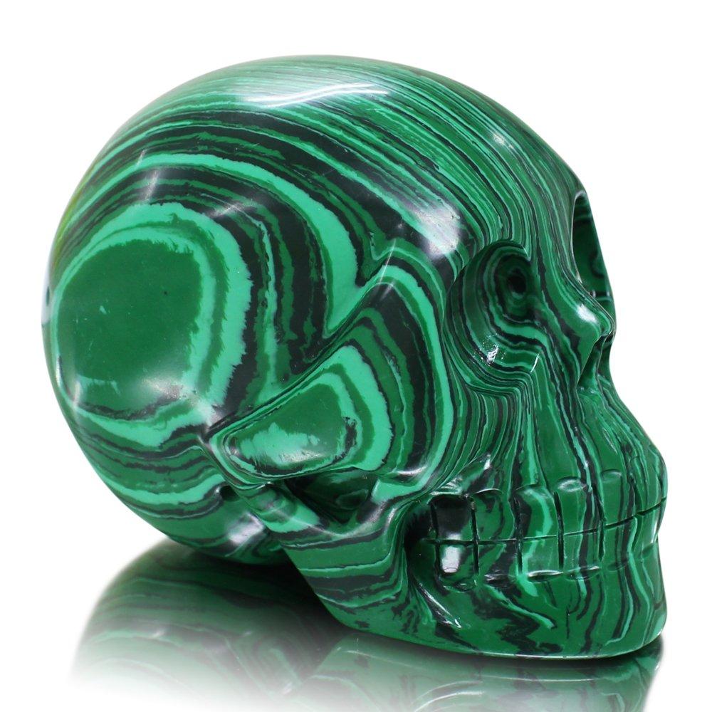 Large 5 inch Natural Quartz Crystal Skull, Collectible Figurines,Mayan Alien Crystal Skull, Healing (Malachite Skull)