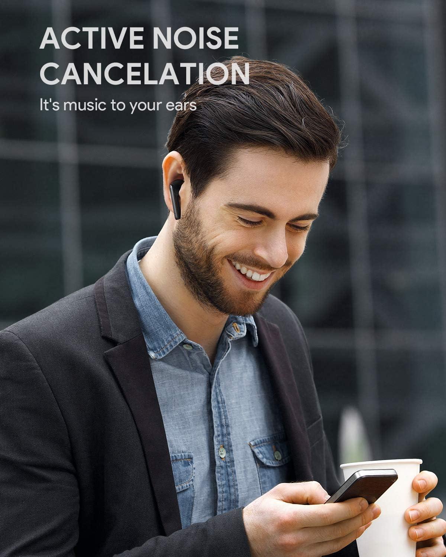 4 Micr/ófonos 35 Horas y Carga R/ápida USB-C AUKEY Auriculares Bluetooth 5 con Cancelaci/ón Activa De Ruido IPX5 Impermeable Auriculares Inal/ámbricos para iPhone y Android