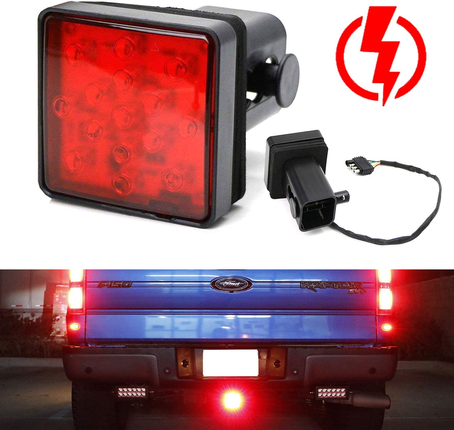 "2/"" Trailer Truck Hitch Towing Receiver Cover 15 LED Brake Light Tube Cover W"