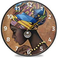 ALAZA Afro African American Woman Wall Clock Battery Operated Silent Non Ticking Clocks for Living Room Decor 12 Inch…