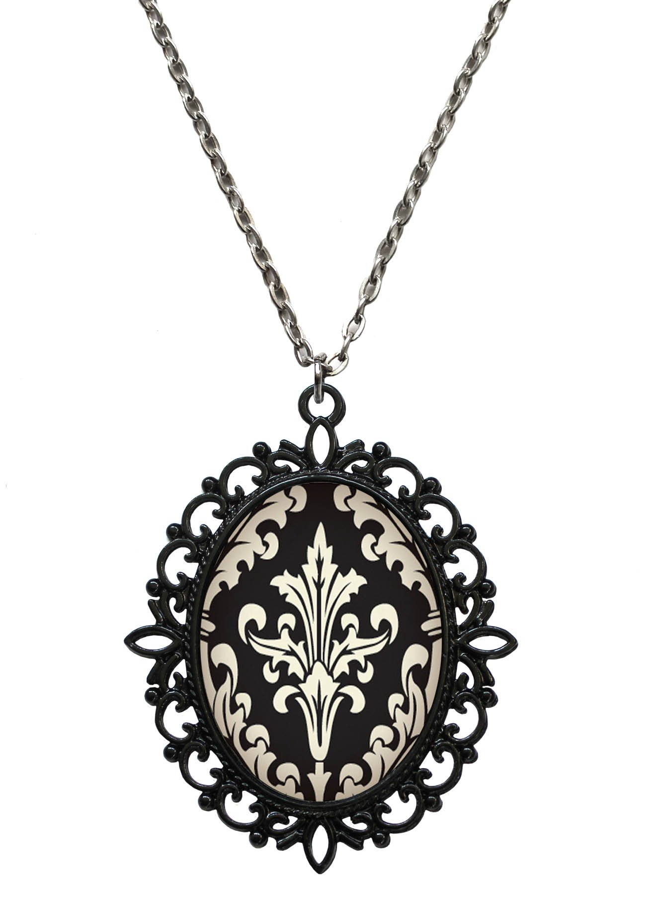 Victorian Vault Steampunk Baroque Pattern Art Gothic Pendant Necklace (Design 21)