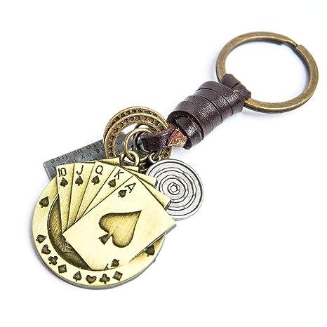 JINQD Naipes Regalo de Llavero |Llaveros de Lucky Gold Poker ...