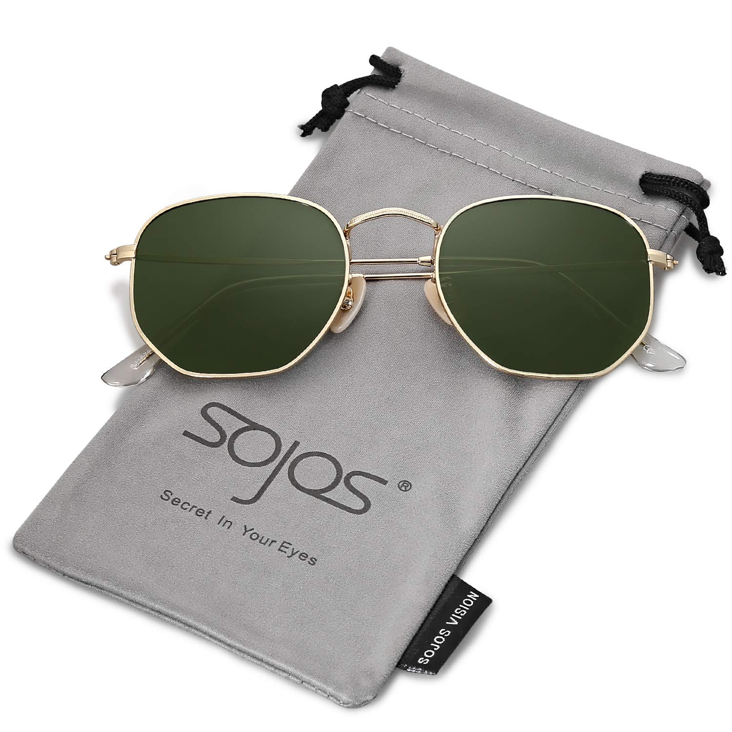 SOJOS Small Square Polarized Sunglasses for Men and Women Polygon Mirrored Lens SJ1072 with Gold Frame/G15 Lens