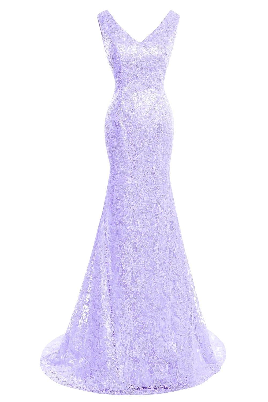 purplec Bess Bridal Women's Double V Neck Lace Mermaid Formal Prom Evening Dresses