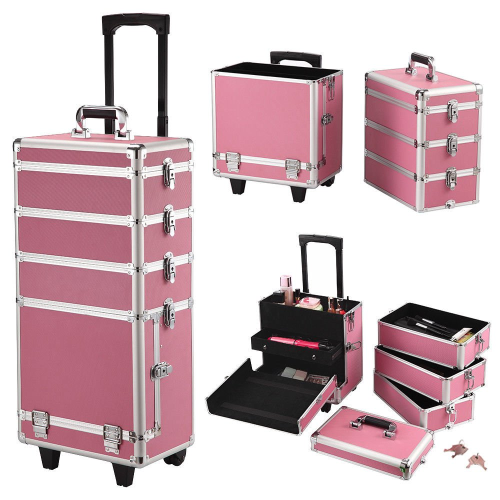4-in-1 Aluminum Rolling Makeup Case Salo Cosmetic Organizer Trolley Train Case By Allgoodsdelight365