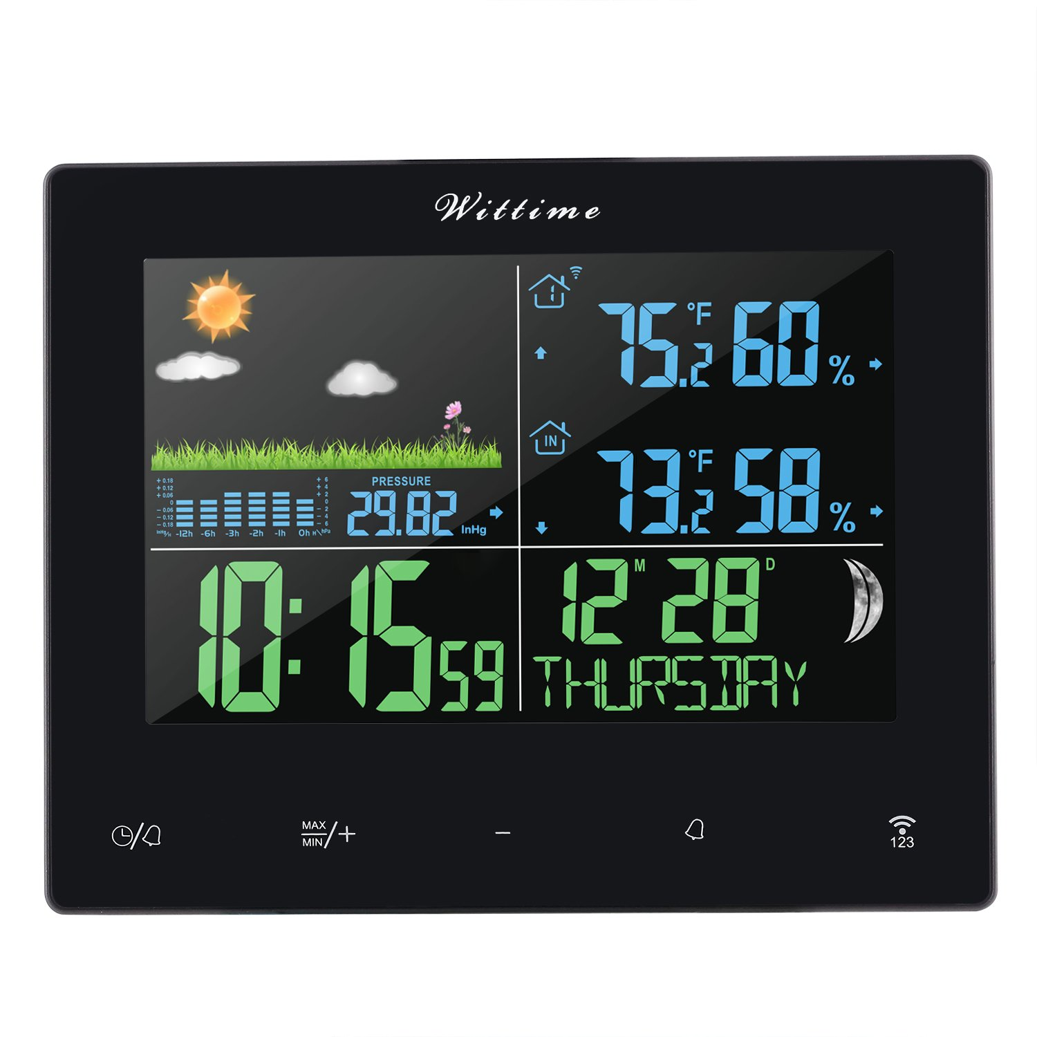Wireless Weather Station Forecast Station Color Screen Weather Sensor Temperature/Humidity/Barometer/Moon Phase/Weather Clock