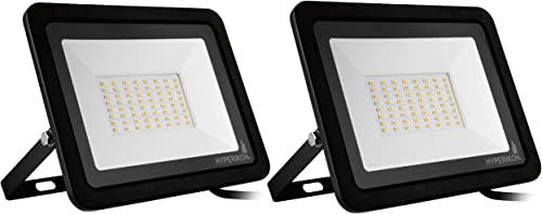 Hyperikon Outdoor LED Flood Light 50W 500-750 Watt Equiv Rotatable Mount, 5000K, 110V, IP65, 2 Pack