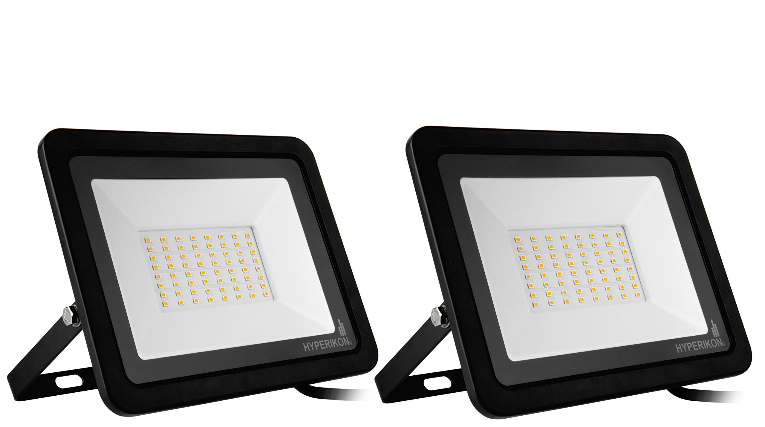 Hyperikon 50W LED Flood Light with 180° Rotatable Bracket, 5000k, 4000 Lumens, Super Bright Outdoor LED Floodlight, Weatherproof IP65, Suitable for Dry and Damp Locations, 110V, 2-Pack