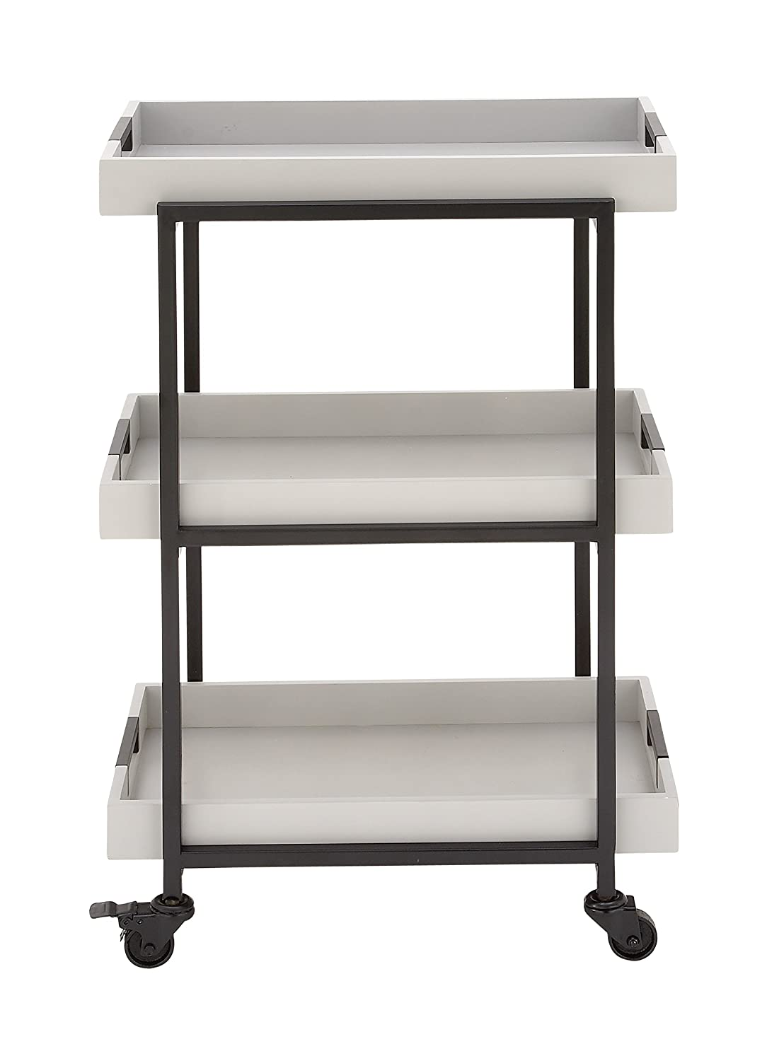 Deco 79 85460 85460 22' X 34' Metal Wood Tray Cart,  White/Black Benzara