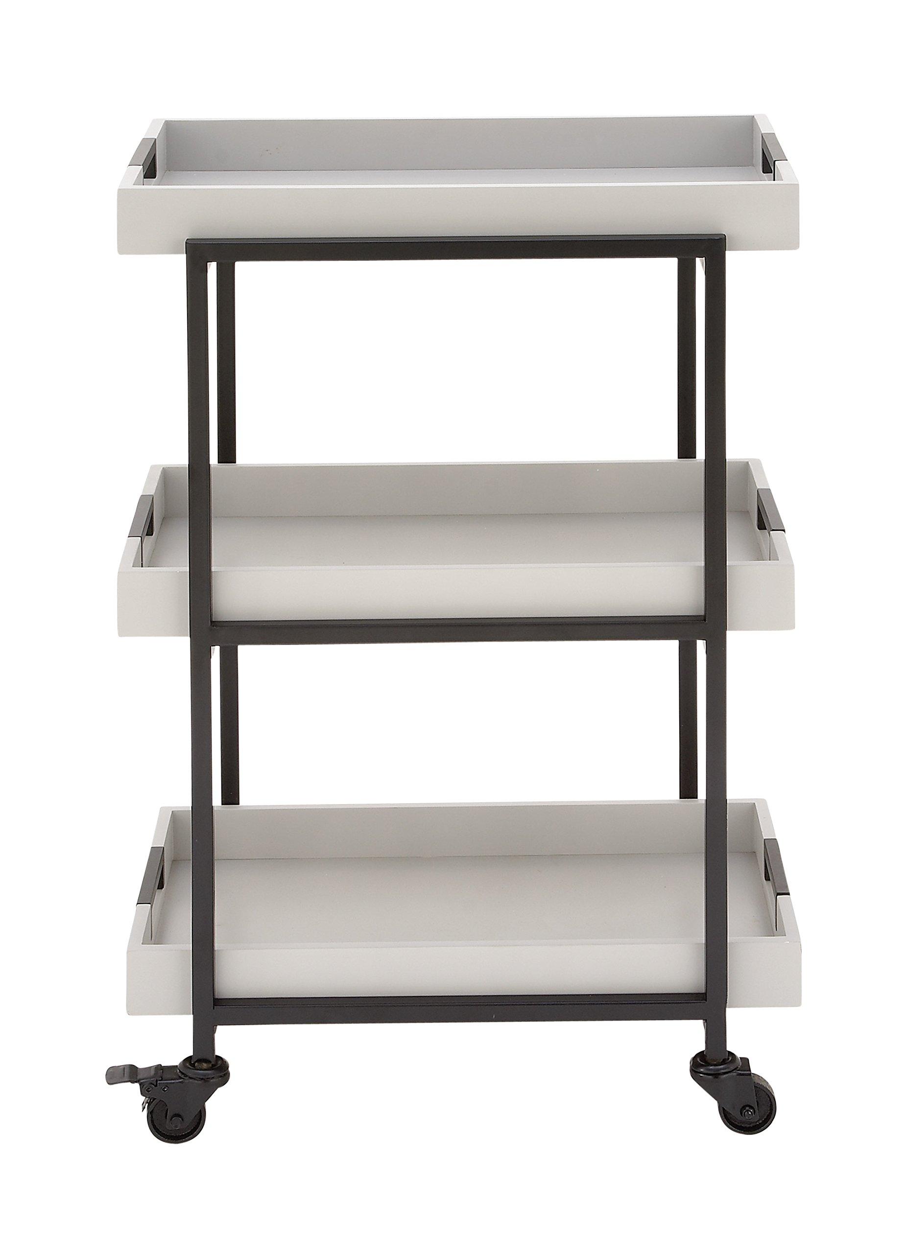 Deco 79 85460 85460 22'' X 34'' Metal Wood Tray Cart,  White/Black