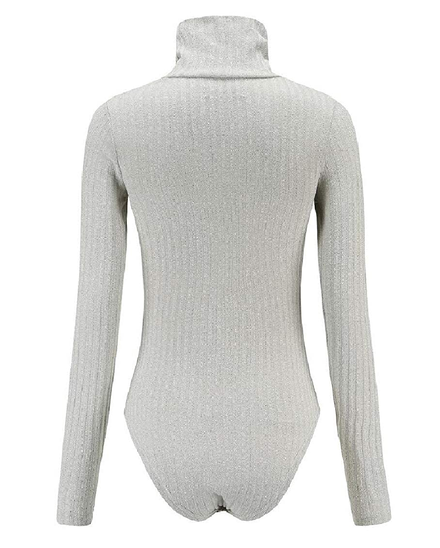 Hokny TD Womens Tops Long Sleeve Solid Color Bodycon Knit Jumpsuits Rompers