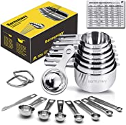 Measuring Cups,Bermunavy Measuring Cups and Spoons Set of 17 in 18/8 Stainless Steel:7 Measuring Cups and 7 Measuring Spoons,