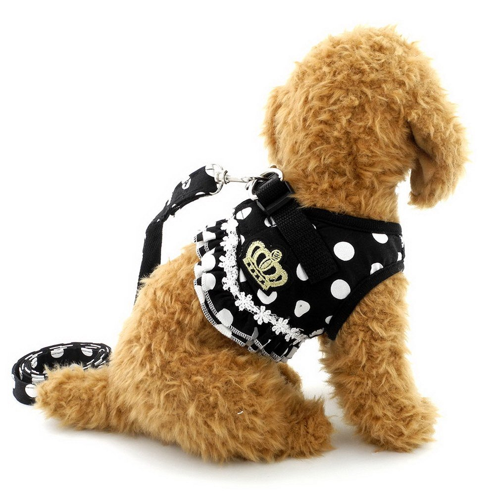 brother cat dog Puppy Cat Small Girl Dog Dots Vest Harness Leash Set Mesh Padded No Pull Lead Black L …