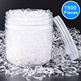EAONE 1500 Pieces Clear Elastic Hair Bands, Rubber Hair Ties with Free Box for Girls