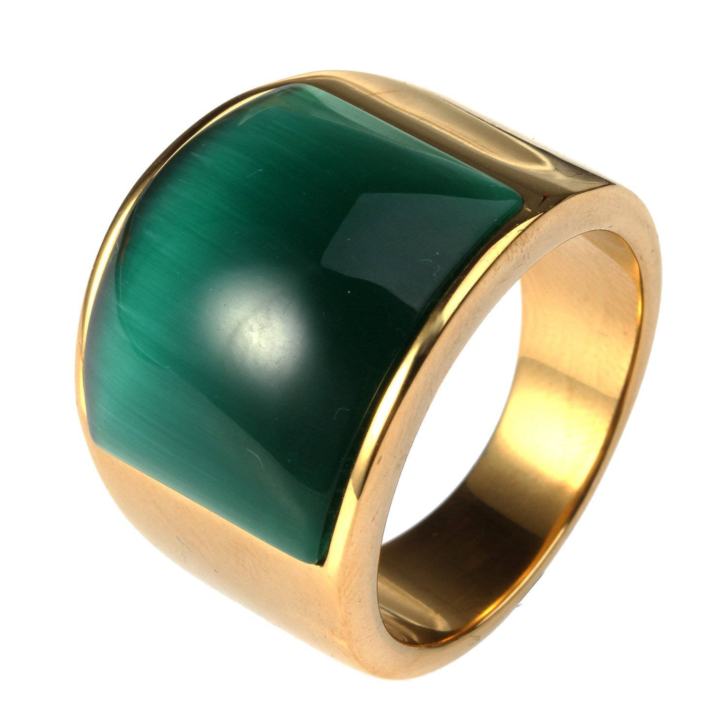 LILILEO Jewelry Stainless Steel Gold Plating Retro Big Green Cat's Eye Stone Ring For Unisex Rings