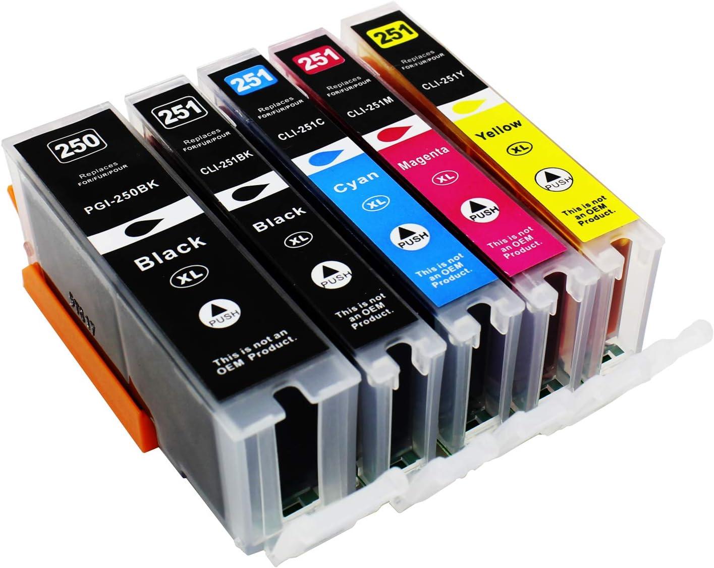 5 Pack PGI-250 & CLI251 compatible ink cartridge replacement For Cannon PIXMA MG5420, PIXMA MG5450, PIXMA MG6320, PIXMA MG6350, PIXMA MX722, PIXMA MX922, PIXMA iP7220, PIXMA iP7250 Printers (LB/SB/C/M/Y) @INKTONER
