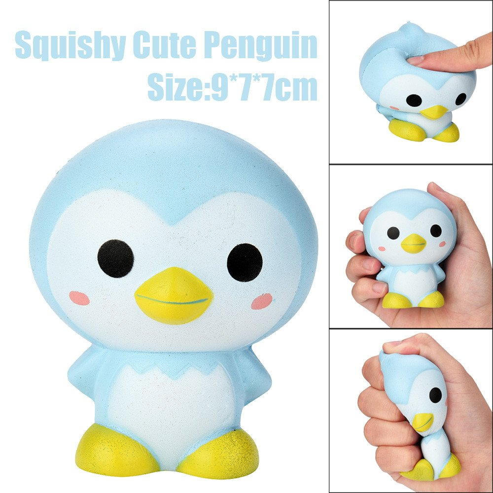 Squishy Toy   Stress Relief Toys   Slow Rising Squishy Toys for Boys   Soft Scented Penguin Squishies Toy   Cute Children Gifts Kids Toys - Non-Toxic, 9cm/3.5'' 1PC (Blue)