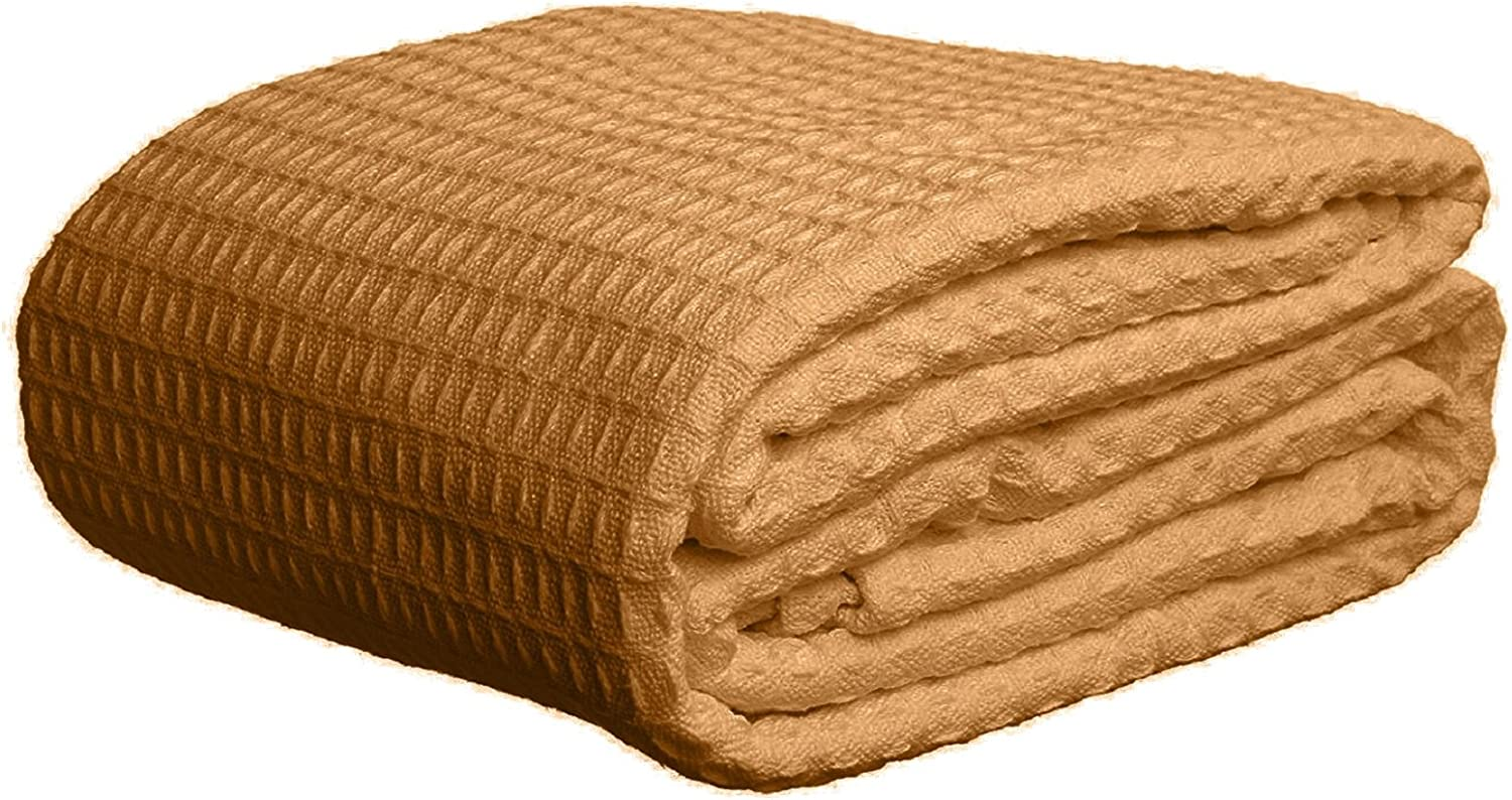 Elaine Karen Deluxe 100% Soft Cotton Thermal Waffle Weave Blanket - Queen Size - TAN