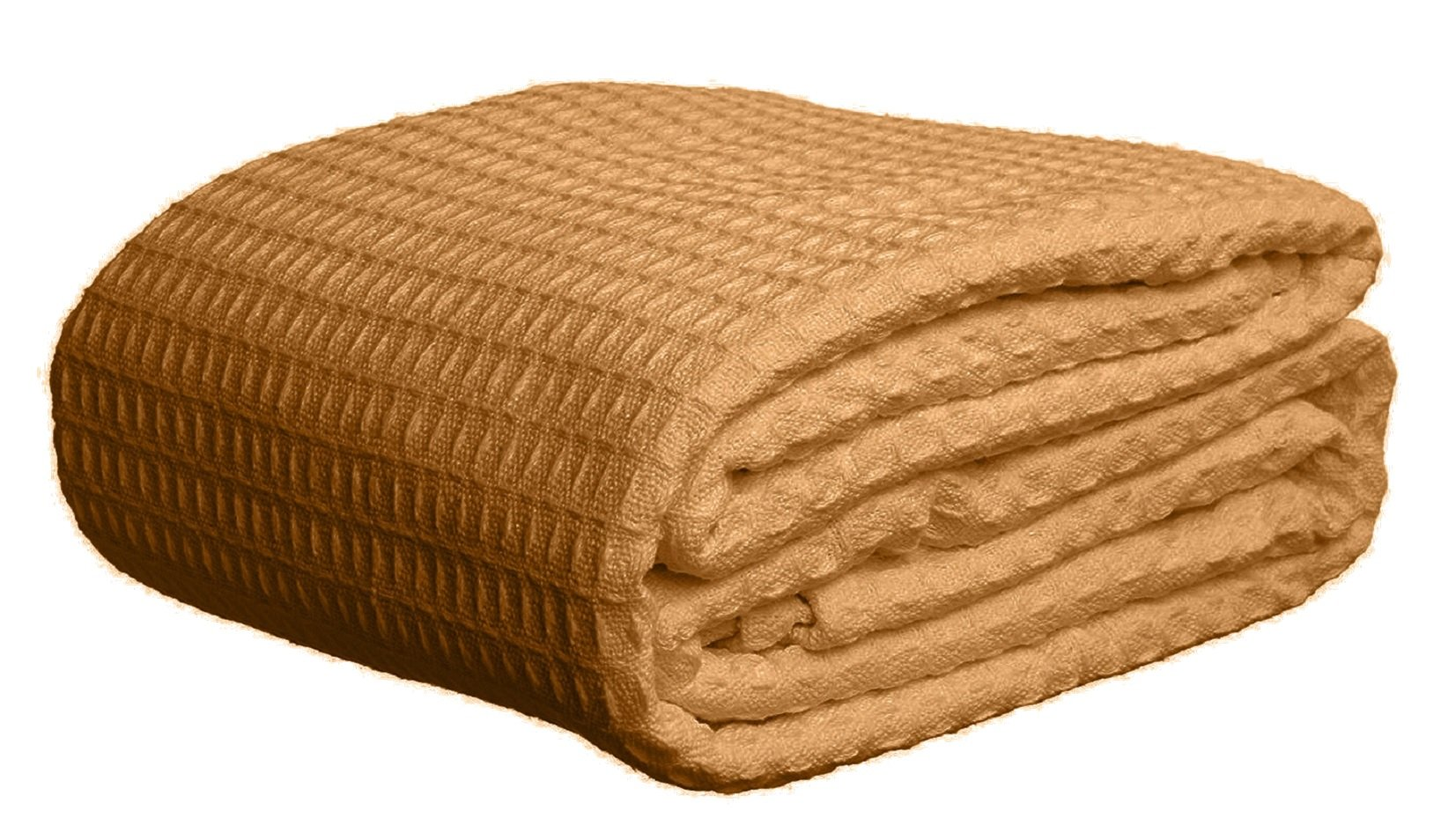 Deluxe 100% Soft Cotton Thermal Waffle Weave Blanket - FULL Size - TAN