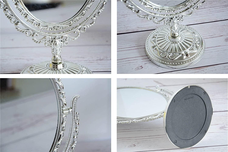 VANKER European Style Desktop zweiseitig Oval Archaistic Swivel Make up Kosmetikspiegel Gold