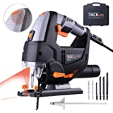 Jigsaw Tools, TACKLIFE 800W 800-3000SPM, with Laser & LED, Pure Copper Motor, Variable Speed Dial (1-6), Cutting in Wood 100mm, 22mm Stroke Height, 3M Core Length, Cutting Angle -45°to 45° | PJS02A