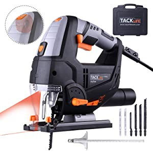 TACKLIFE Advanced 6.7 Amp 3000 SPM Jigsaw with Laser & LED, 6 Blades, 10feet (3M) Cord Length, Pure Copper Motor, Max Bevel Cutting Angle (-45°-45°), Variable Speed, Carrying Case
